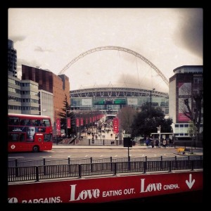 My first view of Wembley, from the tube station.